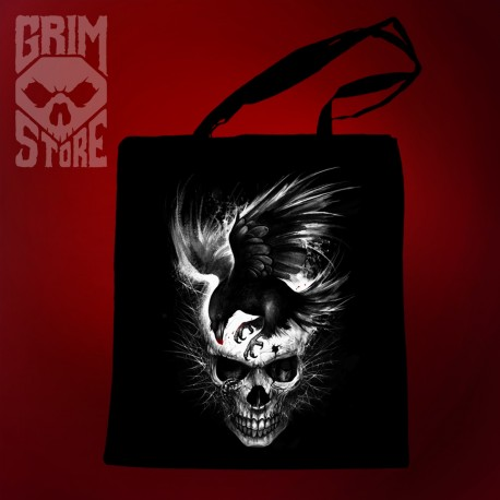 Skull with a Raven - eco bag