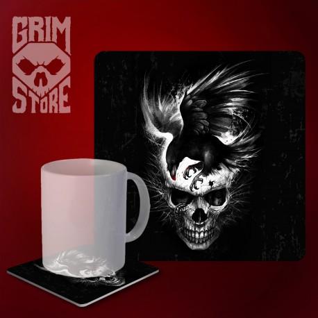 Skull with a Raven - mug coaster