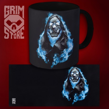 Skull in Blue Flames - mug 330 ml
