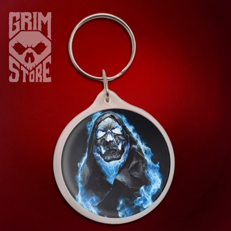 Skull in Blue Flames - pendant