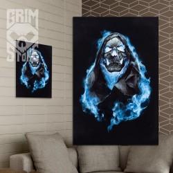Czaszka w niebieskich płomieniach - plakat