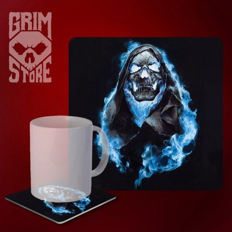 Skull in Blue Flames - mug coaster