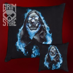 Skull in Blue Flames - pillow