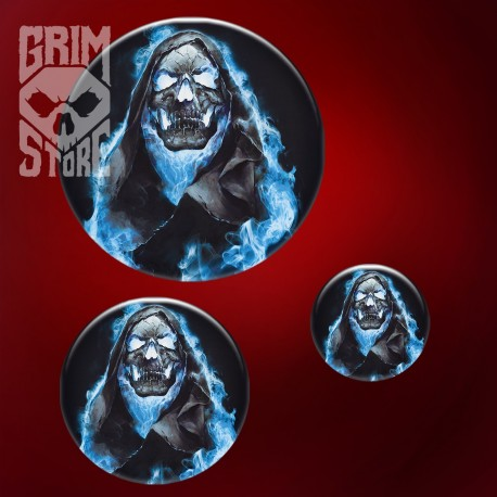 Skull in Blue Flames - pin