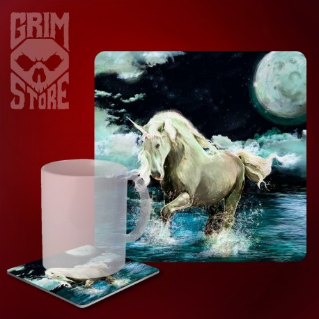 Unicorn in the lake - mug coaster