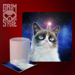 Grumpy Unicorn Cat - mug coaster