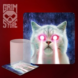 Laser Cat - mug coaster