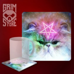 Pentagram Cat - mug coaster