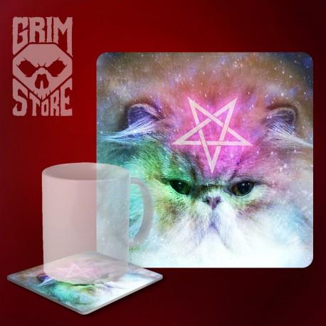 Pentagram Cat - mug coaster