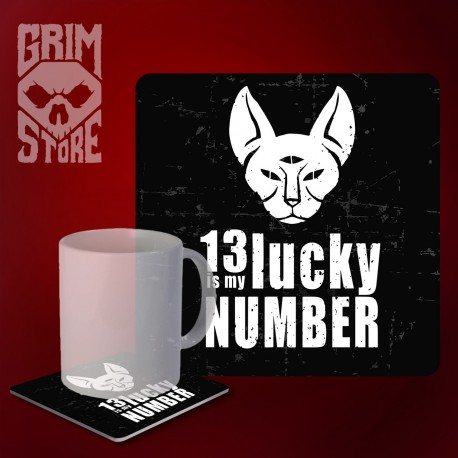 13 is My lucky number - mug coaster
