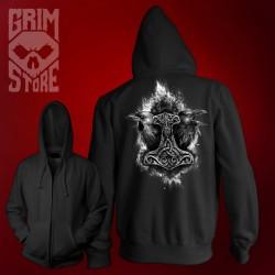 Mjolnir and Ravens - thin hoodie