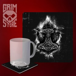 Mjolnir and Ravens - mug coaster