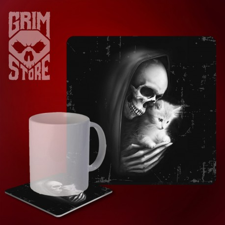 Death with a kitty - mug coaster