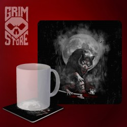 Viking with a wolf - mug coaster