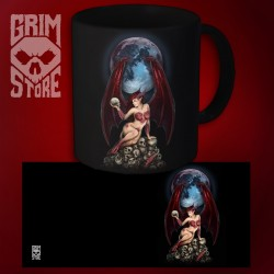 Succubus on a pile of skulls - mug 330 ml