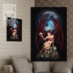 Succubus on a pile of skulls - poster