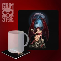 Succubus on a pile of skulls - mug coaster