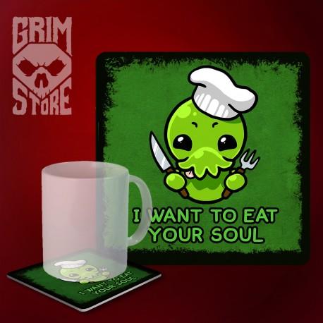 Cthulhu - I want to eat your soul - mug coaster