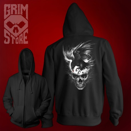 Skull with a Raven - thin hoodie